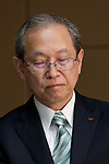 Toshiba Corp. President Satoshi Tsunakawa attends a news conference at the company headquarters on August 10, 2017, Tokyo, Japan. Tsunakawa reported approximate 965.7 billion yen ($8.8 billion)loss for itsFiscal Year 2016 to March 31, 2017. Toshiba avoided being delisted from Tokyo Stock Exchange by announcing its delayed financial results. (Photo by Rodrigo Reyes Marin/AFLO)