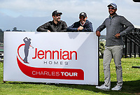 Daniel Pearce chats with Phil Aitkin and Phil Aitkin Jnr from NZ Golf during the Charles Tour Augusta Funds Management Ngamotu Classic, Ngamotu Golf Course, New Plymouth, New Zealand, Saturday 14 October 2017.  Photo: Simon Watts/www.bwmedia.co.nz