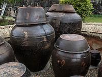Kimchi-Töpfe im Folk-village Naganneupsong-ehemalige Festung, Provinz Jeollanam-do, Südkorea, Asien<br /> Kimchi pottery in Folk-village Naganneupsong-, a former fortress, province Jeollanam-do, South Korea, Asia