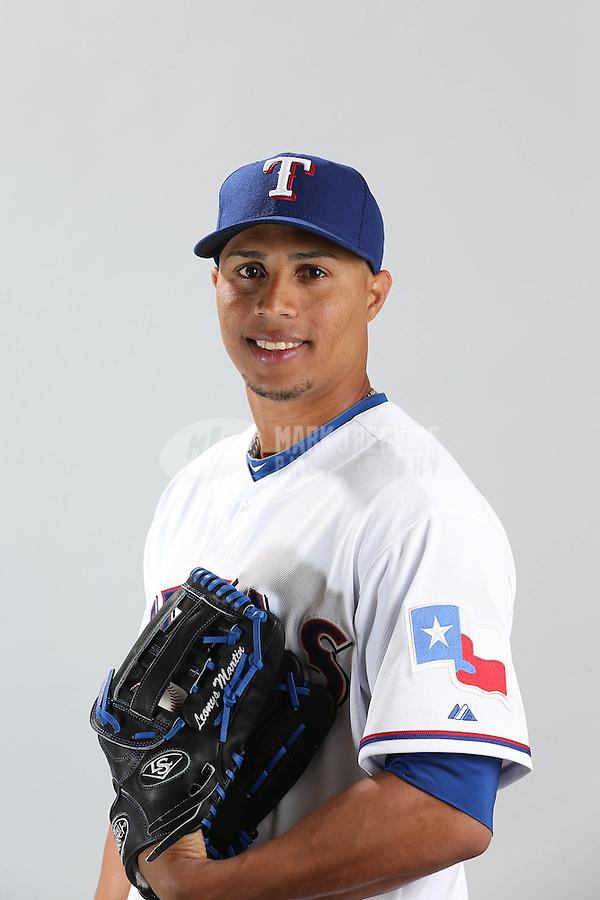 Feb. 20, 2013; Surprise, AZ, USA: Texas Rangers catcher Leonys Martin poses for a portrait during photo day at Surprise Stadium. Mandatory Credit: Mark J. Rebilas-