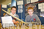 Seamus Doyle and Eoin Fenton from the Intermediate School Killorglin with their project 'Factors affecting a Projectile fired from an air canon at the ITT Science Fest on Tuesday.