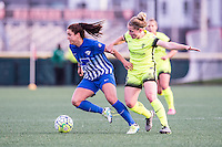 Allston, MA - Sunday, April 24, 2016: Boston Breakers forward Stephanie McCaffrey (9) and Seattle Reign FC midfielder Kim Little (8). The Boston Breakers play Seattle Reign during a regular season NSWL match at Jordan Field, Harvard University.