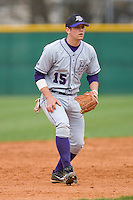 Third baseman Kyle Wigmore #15 of the High Point Panthers on defense versus the North Carolina A&T Aggies at War Memorial Stadium March 16, 2010, in Greensboro, North Carolina.  Photo by Brian Westerholt / Four Seam Images
