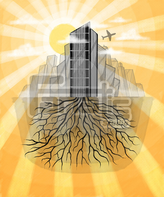 Illustrative image of buildings with roots representing business growth