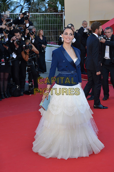 Berenice Bejo.'Le Passe'  film premiere at the 66th Cannes Film Festival, Cannes, France, 17th May 2013..full length white tulle dress jacket blazer  blue netting tiered ruffle ruffles clutch bag .CAP/PL.©Phil Loftus/Capital Pictures