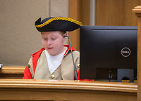 NWA Democrat-Gazette/BEN GOFF @NWABENGOFF<br /> Defendant Benedict Arnold, played by Tristan Hash, takes the witness stand Wednesday, March 7, 2018, as 5th grade students from Frank Tillery Elementary in Rogers hold a mock trial at Rogers District Court. The students put on costumes and portrayed historical figures from the American Revolution, putting Benedict Arnold on trial for treason and Capt. Thomas Preston on trial for murder in the Boston Massacre.