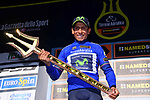Overall winner Nairo Quintana (COL) Movistar Team holds the trophy on the podium at the end of Stage 7 of the 2017 Tirreno Adriatico a 10km Individual Time Trial at San Benedetto del Tronto, Italy. 14th March 2017.<br /> Picture: La Presse/Gian Mattia D'Alberto | Cyclefile<br /> <br /> <br /> All photos usage must carry mandatory copyright credit (&copy; Cyclefile | La Presse)