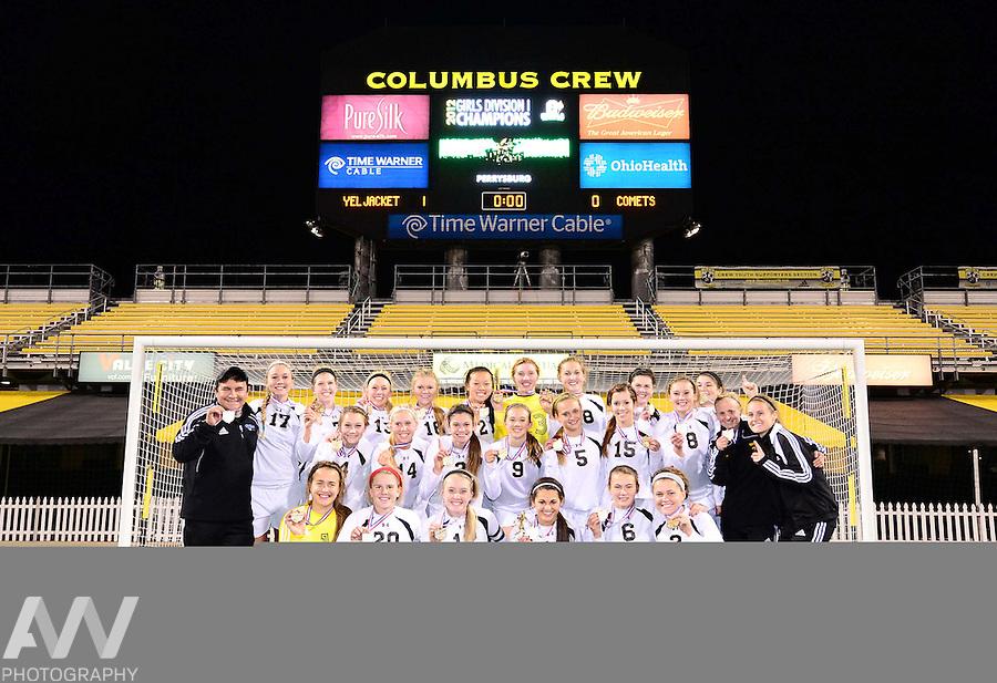Nov 9, 2012; Columbus, OH, USA; Perrysburg Yellow Jackets defeated Mason Comets 1-0 to win the 2012 State Championship at Columbus Crew Stadium. Mandatory Credit: Andrew Weber