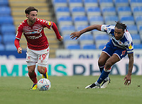 Middlesbrough's Patrick Roberts (left) under pressure from Reading's Liam Moore (right) <br /> <br /> Photographer David Horton/CameraSport<br /> <br /> The EFL Sky Bet Championship - Reading v Middlesbrough - Tuesday July 14th 2020 - Madejski Stadium - Reading<br /> <br /> World Copyright © 2020 CameraSport. All rights reserved. 43 Linden Ave. Countesthorpe. Leicester. England. LE8 5PG - Tel: +44 (0) 116 277 4147 - admin@camerasport.com - www.camerasport.com