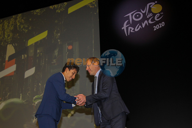 Defending Champion Egan Bernal (COL) and Christian Prudhomme Tour Director on stage at the Tour de France 2020 route presentation held in the Palais des Congrès de Paris (Porte Maillot), Paris, France. 15th October 2019.<br /> Picture: ASO/Thomas Colpaert | Cyclefile<br /> <br /> All photos usage must carry mandatory copyright credit (© Cyclefile | ASO/Thomas Colpaert)