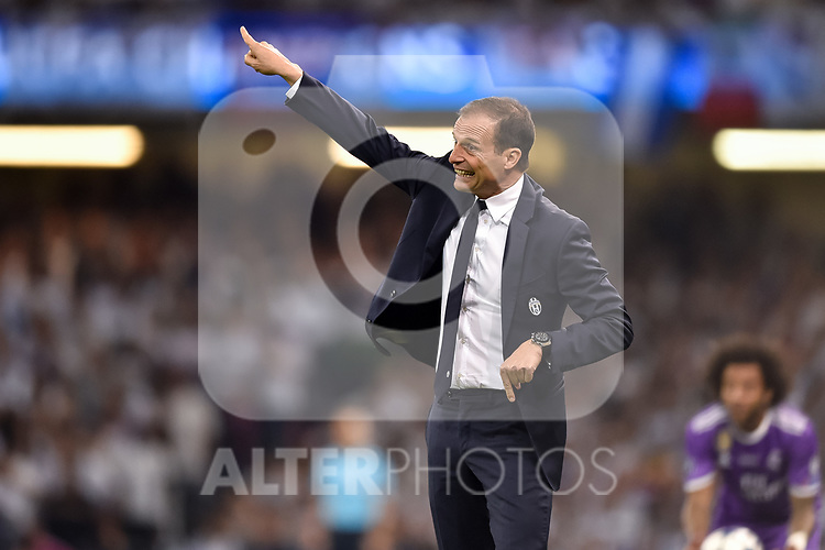 Massimiliano Allegri manager of Juventus during the UEFA Champions League Final match between Real Madrid and Juventus at the National Stadium of Wales, Cardiff, Wales on 3 June 2017. Photo by Giuseppe Maffia.<br /> <br /> Giuseppe Maffia/UK Sports Pics Ltd/Alterphotos