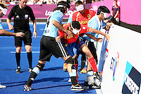 04.09.2012.  London, England. Youssef El Haddaoui Rabii (SPA) in action during the Men's Football 5-a-side Preliminaries Pool A match between Spain and Argentina during Day 6 of the London Paralympics from the Riverbank Arena