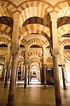Moorish arches in the former mosque now cathedral, Cordoba, Spain