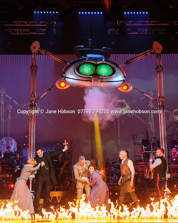 Jeff Wayne's Musical Version of the War of the Worlds opens at the Dominion Theatre. Picture shows: Heidi Range (Beth), Jimmy Nail (Parson Nathaniel), Michael Praed (George Herbert), Madalena Alberto (Carrie), David Essex (The Voice of Humanity), Daniel Bedingfield (The Artilleryman)