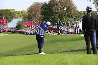 Patrick Reed US Team plays his 2nd shot on the 10th hole during Thursday's Practice Day of the 41st RyderCup held at Hazeltine National Golf Club, Chaska, Minnesota, USA. 29th September 2016.<br /> Picture: Eoin Clarke | Golffile<br /> <br /> <br /> All photos usage must carry mandatory copyright credit (&copy; Golffile | Eoin Clarke)