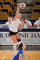 20 November 2008:  New Orleans outside hitter Dobrilla Kovacevic (8) hits a kill shot during the New Orleans 3-1 victory over UALR in the first round of the Sun Belt Conference Championship tournament at FIU Stadium in Miami, Florida.