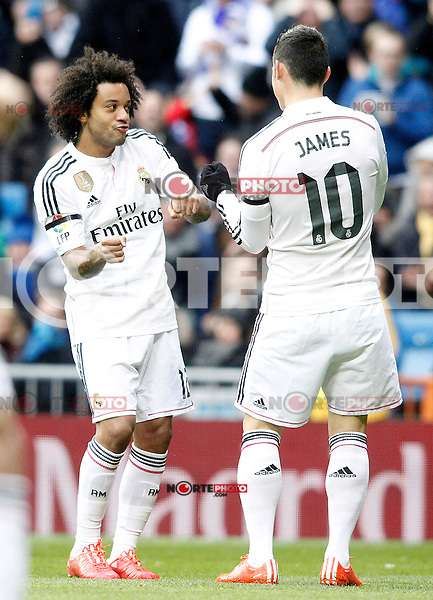 Real Madrid's Marcelo Vieira (l) and James Rodriguez celebrate goal during La Liga match.January 31,2015. (ALTERPHOTOS/Acero) /NortePhoto<br />