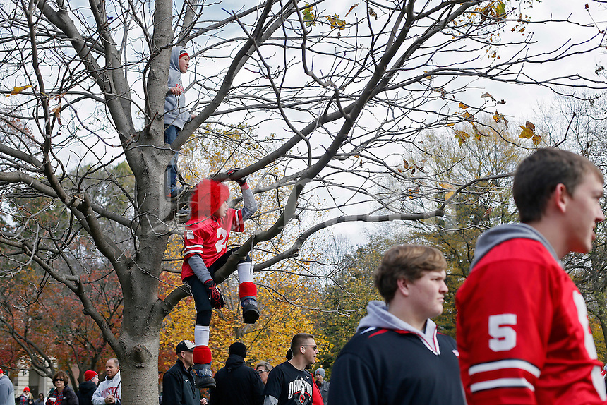 Andrew Rabe, 9, (top) and Brady Westin, 12, (bottom) watch Ohio State Buckeyes head coach Urban Meyer on ESPN's College Gameday broadcasted in a tree live from the campus of Ohio State prior to the Ohio State Buckeyes and Michigan State Spartans game at Ohio Stadium on November 21, 2015.  (Dispatch photo by Kyle Robertson)