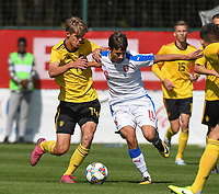 20190910 - TUBIZE , BELGIUM : Charles De Ketelaere (L) and Czech Republican's Petr Pudhorocky (R) pictured during the friendly  soccer match between Men's under 19 teams of  Belgium and Czech Republic , in Tubize , Belgium . Tuesday 10th September 2019 . PHOTO SPORTPIX.BE / DIRK VUYLSTEKE