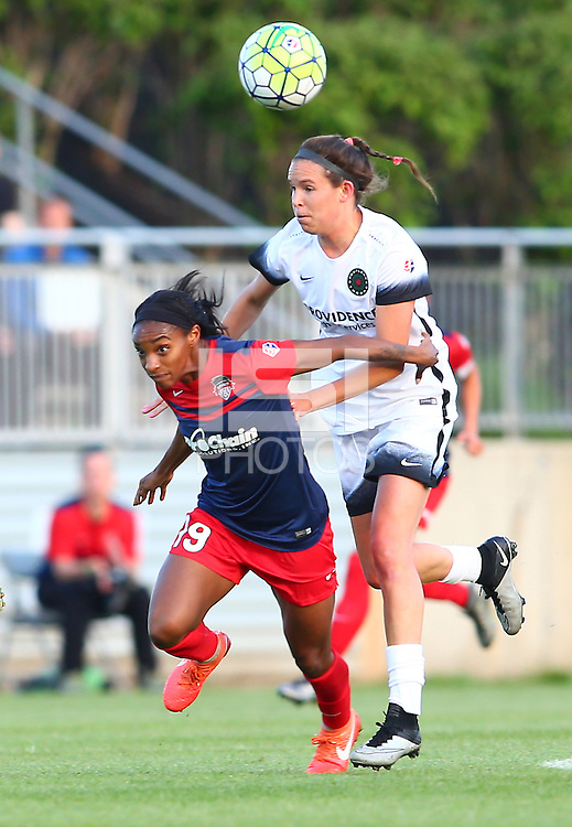 Boyds, MD - Saturday May 07, 2016: Portland Thorns FC defender Emily Menges (4) pushes into Washington Spirit forward Crystal Dunn (19) during a regular season National Women's Soccer League (NWSL) match at Maureen Hendricks Field, Maryland SoccerPlex. Washington Spirit tied the Portland Thorns 0-0.
