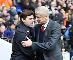 Tottenham's Mauricio Pochettino shakes hands with Arsenal's Arsene Wenger<br /> <br /> - English Premier League - Tottenham Hotspur vs Arsenal  - White Hart Lane - London - England - 5th March 2016 - Pic David Klein/Sportimage