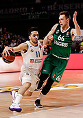 22nd March 2018, Wizink Centre, Madrid, Spain; Turkish Airlines Euroleague Basketball, Real Madrid versus Zalgiris Kaunas; Facundo Campazzo (Real Madrid Baloncesto) brings the ball foward against Paulius Valinskas (Zalgiris Kaunas)