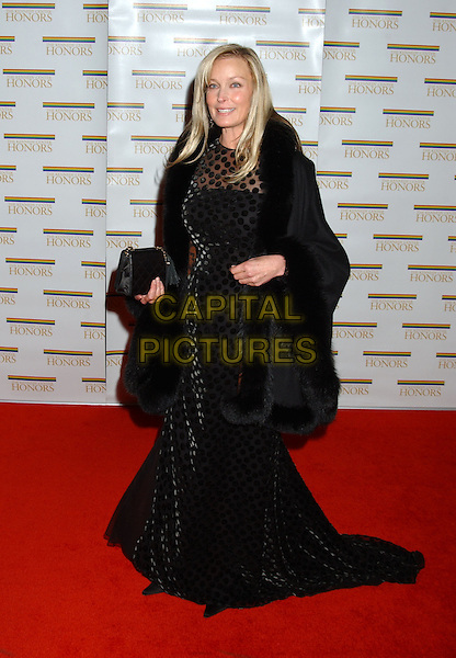 BO DEREK.28th Annual Kennedy Center Honors State Department Dinner held at the State Department. Washington D.C.USA, United States.3rd December 2005.Ref:ADM/LF.full length black polka dot long dress black fur trim coat.www.capitalpictures.com.sales@capitalpictures.com.© Capital Pictures..