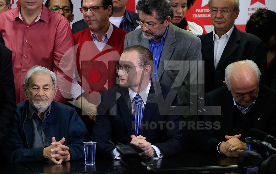 SÃO PAULO,SP, 13.07.2017 - LULA-SP - O advogado, Cristiano Zanin, durante coletiva do ex-presidente Luiz Inacio Lula da Silva na sede do Partido dos Trabalhadores (Pt), no centro de São Paulo na manhã desta quinta-feira (13).<br /> <br /> (Foto: Fabricio Bomjardim / Brazil Photo Press)