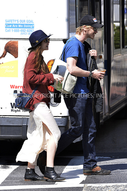 WWW.ACEPIXS.COM....April 8 2013, New York City....Actress Elizabeth Olsen and her boyfriend, actor Boyd Holbrook walked together in Soho on April 8 2013 in New York City......By Line: Curtis Means/ACE Pictures......ACE Pictures, Inc...tel: 646 769 0430..Email: info@acepixs.com..www.acepixs.com