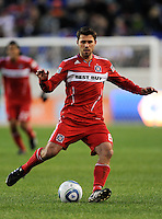 Peter Lowry (8) of the Chicago Fire during the first half of a Major League Soccer match between the New York Red Bulls and the Chicago Fire at Red Bull Arena in Harrison, NJ, on March 27, 2010. The Red Bulls defeated the Fire 1-0.