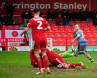 Lincoln City's Anthony Scully celebrates scoring the opening goal<br /> <br /> Photographer Andrew Vaughan/CameraSport<br /> <br /> The EFL Sky Bet League One - Accrington Stanley v Lincoln City - Saturday 15th February 2020 - Crown Ground - Accrington<br /> <br /> World Copyright © 2020 CameraSport. All rights reserved. 43 Linden Ave. Countesthorpe. Leicester. England. LE8 5PG - Tel: +44 (0) 116 277 4147 - admin@camerasport.com - www.camerasport.com