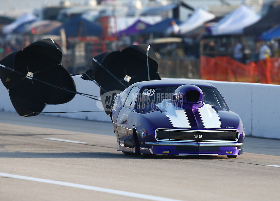 Apr 25, 2014; Baytown, TX, USA; NHRA pro mod driver Ron Muenks during qualifying for the Spring Nationals at Royal Purple Raceway. Mandatory Credit: Mark J. Rebilas-