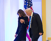 President-elect of The United States Donald J. Trump escorts First Lady-elct from the podium after she spoke  to Republican leadership January 19, 2017 the day before his swearing in as 45th President of The United States. <br /> Credit: Chris Kleponis / Pool via CNP