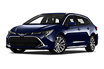 Stock pictures of low aggressive front three quarter view of a 2019 Toyota Corolla Touring Sports Premium 5 Door Wagon