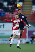 2nd February 2019, Hope CBD Stadium, Hamilton, Scotland; Ladbrokes Premiership football, Hamilton Academical versus Dundee; Nathan Ralph of Dundee competes in the air with Tony Andreu of Hamilton Academical