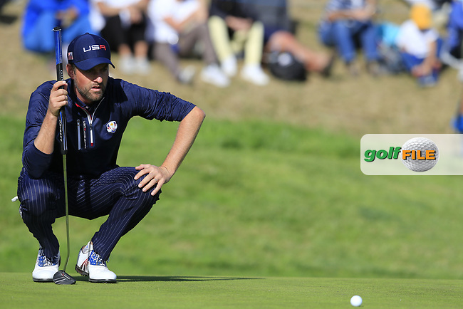 Webb Simpson (Team USA) on the 9th green during Saturday's Foursomes Matches at the 2018 Ryder Cup 2018, Le Golf National, Ile-de-France, France. 29/09/2018.<br /> Picture Eoin Clarke / Golffile.ie<br /> <br /> All photo usage must carry mandatory copyright credit (© Golffile   Eoin Clarke)