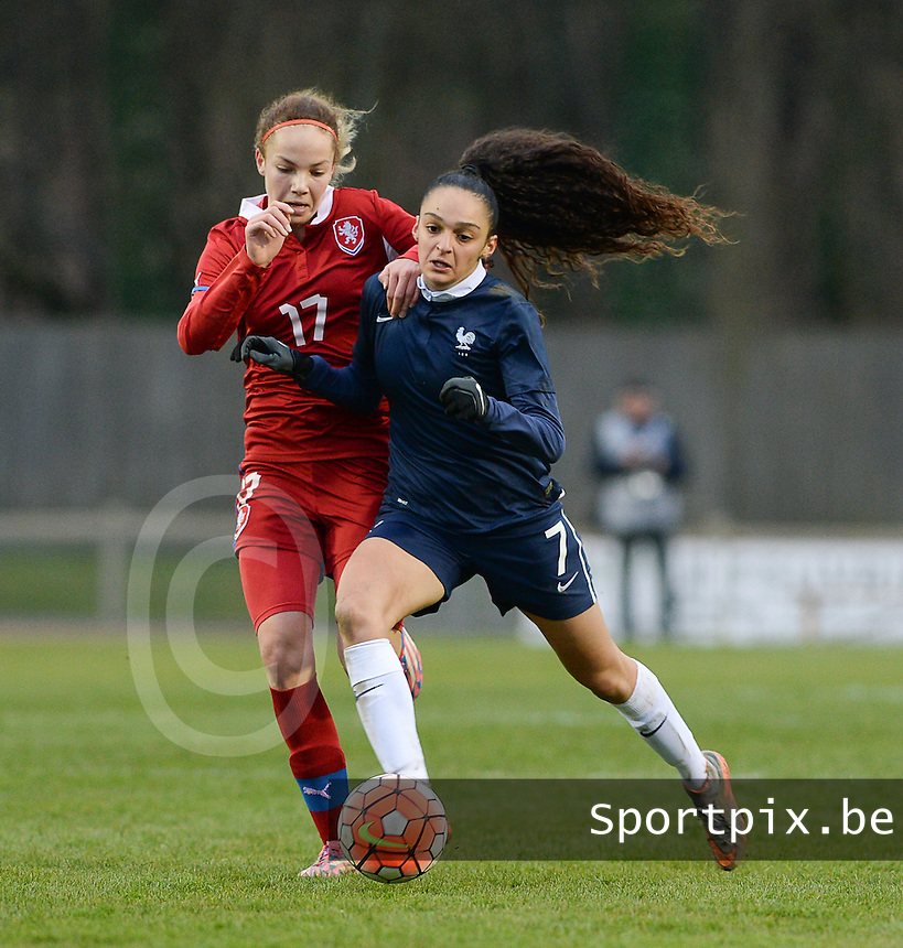 20160319 - FLERS , FRANCE : French Lena Boussaha (R) and Czech Andrea Staskova (L) pictured during the soccer match between the women under 17 teams of  France and the Czech Republic , on the first matchday in group 3 of the UEFA Women Under17 Elite rounds at Stade du Haze in Flers , France . Saturday 19th March 2016 . PHOTO DAVID CATRY