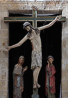 Stations of the Cross, 13th century, Iglesia de San Esteban (St Stephen's Church), 12th-13th centuries, Segovia, Castile and Leon, Spain. Christ is stretching out his right hand, as in the Cristo de la Vega in Toledo. Picture by Manuel Cohen