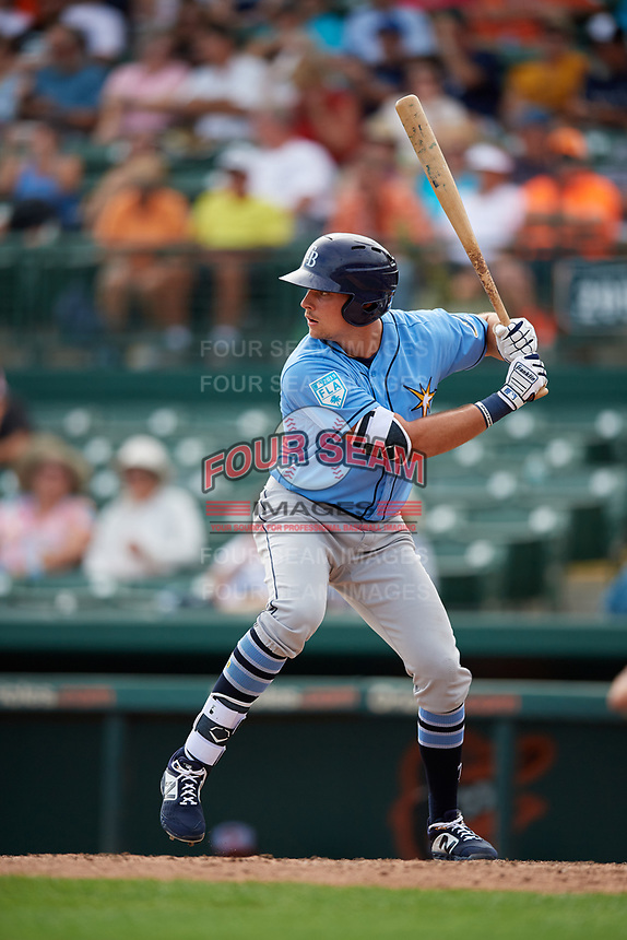 Tampa Bay Rays center fielder Josh Lowe (71) at bat during a Grapefruit League Spring Training game against the Baltimore Orioles on March 1, 2019 at Ed Smith Stadium in Sarasota, Florida.  Rays defeated the Orioles 10-5.  (Mike Janes/Four Seam Images)