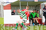 Aaron Houlihan Tralee Dynamos and Tomas O'Rourke Shamrock Rovers in action in Tralee on Sunday..