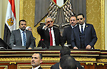 Members of Egypt's Parliament discuss during the inaugural session, the first to convene in three years, in Cairo, Egypt, Sunday, Jan. 10, 2016. The 596-seat assembly, elected in November and December, packed with supporters of President Abdel-Fattah el-Sissi, signaled the completion of a political road map first announced in 2013. It is the first elected chamber since el-Sissi, as military chief, led the ouster of President Mohammed Morsi in 2013 following massive protests against the Islamist leader and his Muslim Brotherhood. Photo by Amr Sayed