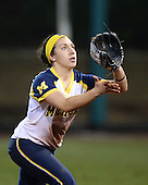 Michigan Wolverines Softball infielder Abby Ramirez (1) catches a pop up during a game against the University of South Florida Bulls on February 8, 2014 at the USF Softball Stadium in Tampa, Florida.  Michigan defeated USF 3-2.  (Copyright Mike Janes Photography)
