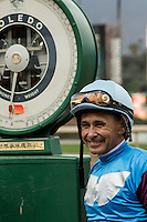ARCADIA, CA  FEBRUARY 11:A smiling Mike Smith after winning the Santa Maria and Arcadia Stakes on February 11, 2017 at Santa Anita Park in Arcadia, CA. (Photo by Casey Phillips/Eclipse Sportswire/Getty Images)