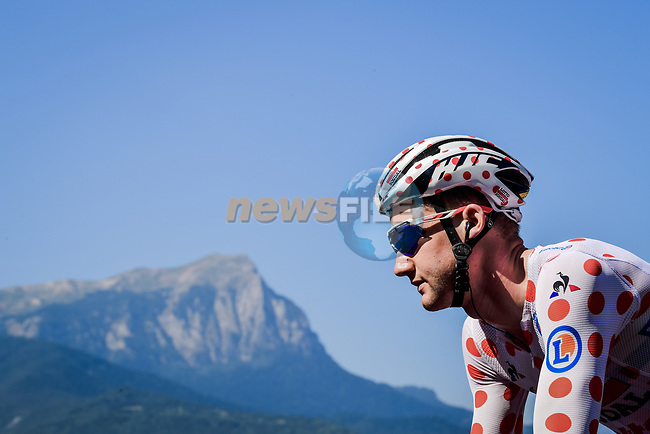 Polka Dot Jersey Tim Wellens (BEL) Lotto-Soudal part of the breakaway group climbs during Stage 18 of the 2019 Tour de France running 208km from Embrun to Valloire, France. 25th July 2019.<br /> Picture: ASO/Pauline Ballet | Cyclefile<br /> All photos usage must carry mandatory copyright credit (© Cyclefile | ASO/Pauline Ballet)