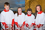 SERVERS: Helping the Bishop of Kerry Bill Murphy at the Lá Fhéile Breanainn, at the Arfert Cathedral, on Thursday evening l-r: Darragh Courtney, Ailise Ryan, Conn Marley and Coná Fitzgerald.