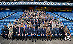 14.09.2019 Rangers v Livingston: Rangers manager Steven Gerrard and directors with members of the armed forces at Ibrox Stadium ahead of this afternoon's match