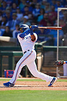 Elvis Andrus (1) of the Texas Rangers follows through on a swing during a Cactus League Spring Training game against the Los Angeles Dodgers on March 8, 2020 at Surprise Stadium in Surprise, Arizona. Rangers defeated the Dodgers 9-8. (Tracy Proffitt/Four Seam Images)
