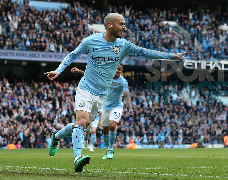 David Silva of Manchester City celebrates scoring the first goal during the premier league match at the Etihad Stadium, Manchester. Picture date 22nd April 2018. Picture credit should read: Simon Bellis/Sportimage