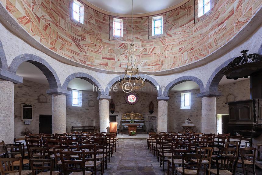France, Corrèze (19), Saint-Bonnet-la-Rivière, l'église rotonde inspirée du Saint-Sépulcre // France, Correze, Saint Bonnet la Riviere, church rotunda inspired by the Holy Sepulchre