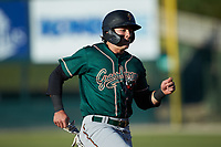 Mason Martin (35) of the Greensboro Grasshoppers hustles towards third base against the Rapidos de Kannapolis at Kannapolis Intimidators Stadium on June 14, 2019 in Kannapolis, North Carolina. The Grasshoppers defeated the Rapidos de Kannapolis 4-1. (Brian Westerholt/Four Seam Images)